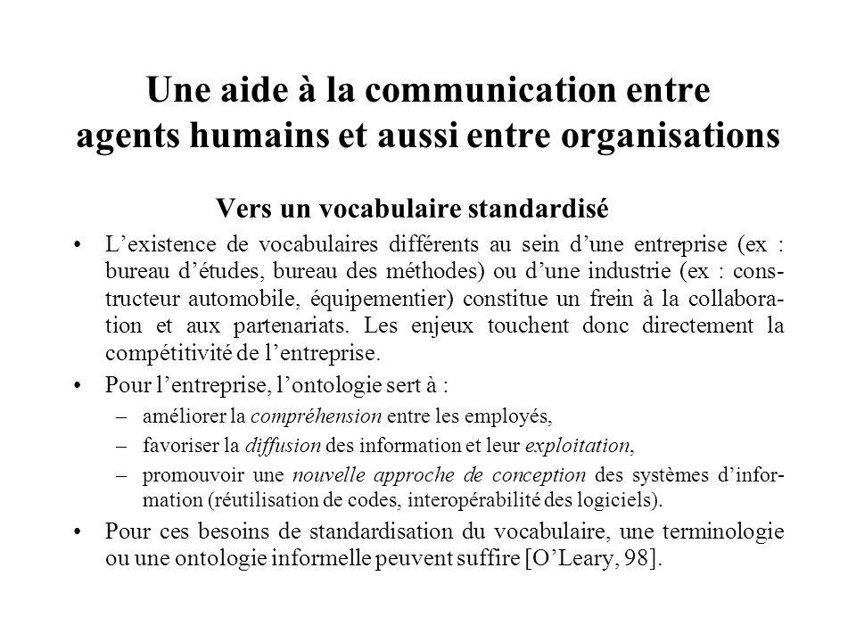 Une aide à la communication entre agents humains et aussi entre organisations