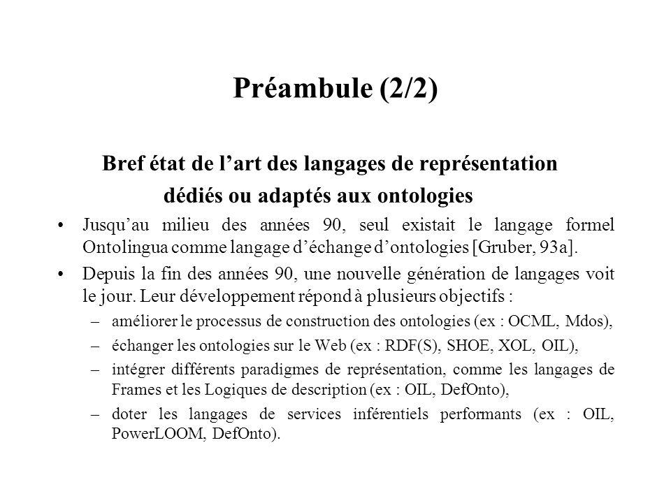 Préambule (2/2) Bref état de l'art des langages de représentation