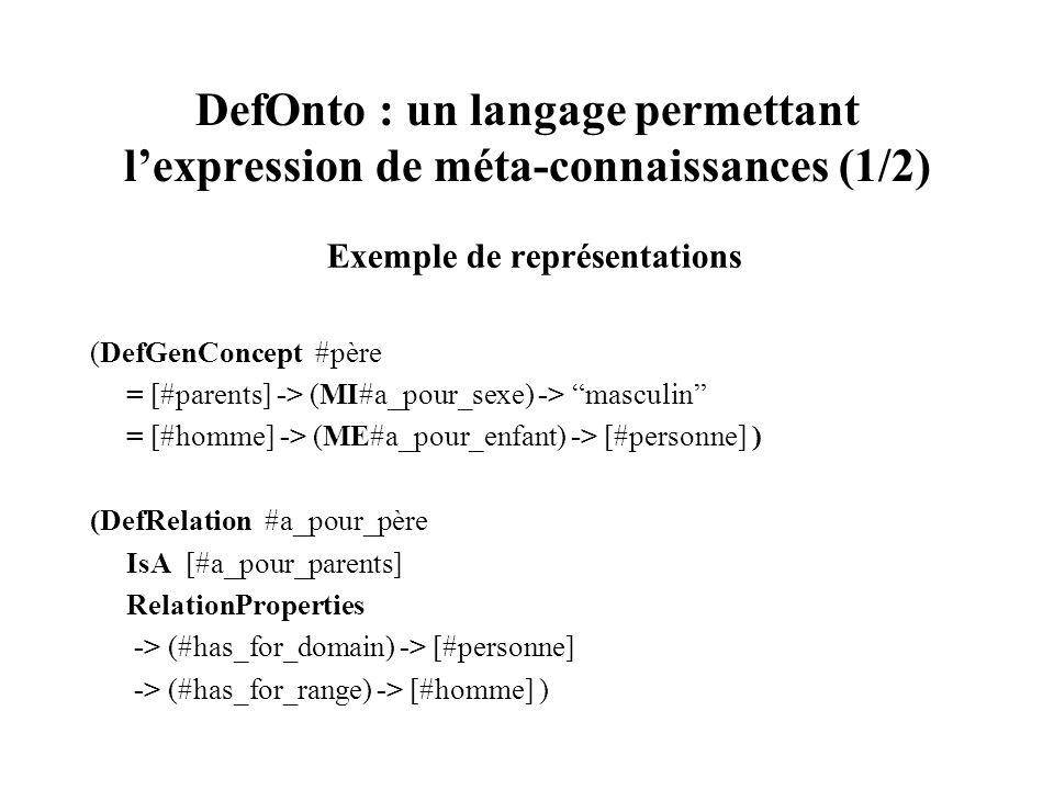 DefOnto : un langage permettant l'expression de méta-connaissances (1/2)