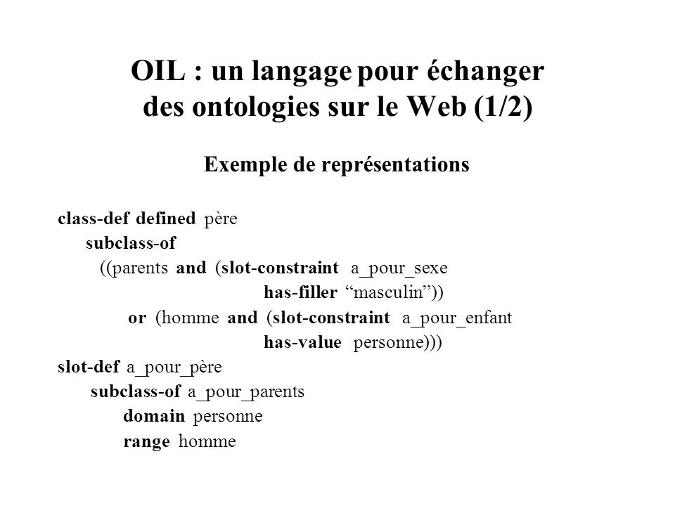 OIL : un langage pour échanger des ontologies sur le Web (1/2)
