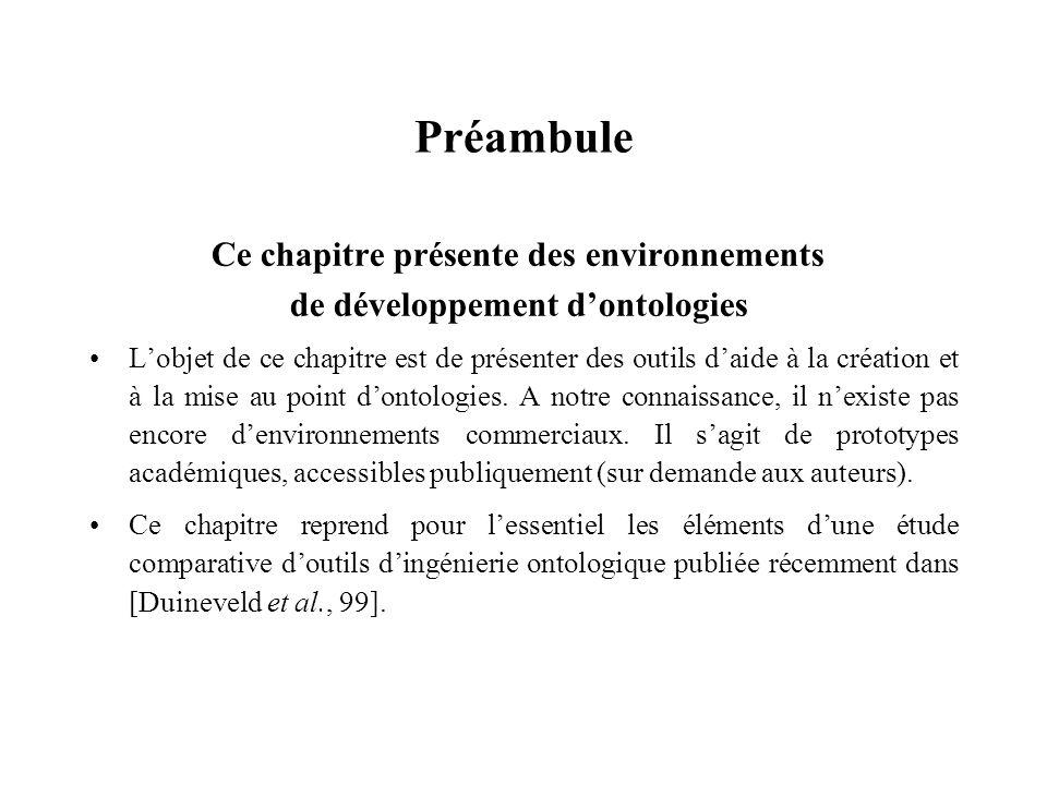 Préambule Ce chapitre présente des environnements