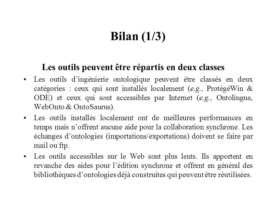 Bilan (1/3) Les outils peuvent être répartis en deux classes