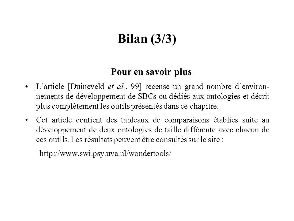 Bilan (3/3) Pour en savoir plus