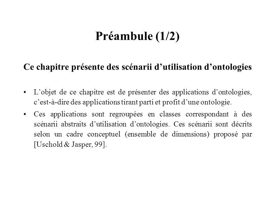Préambule (1/2) Ce chapitre présente des scénarii d'utilisation d'ontologies.