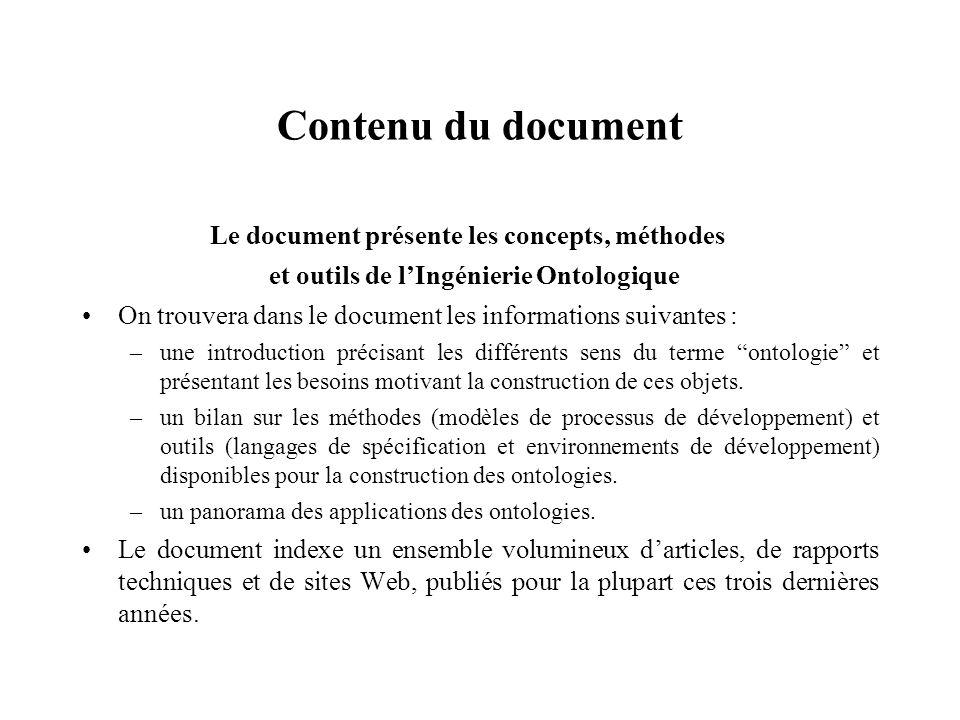 Contenu du document Le document présente les concepts, méthodes
