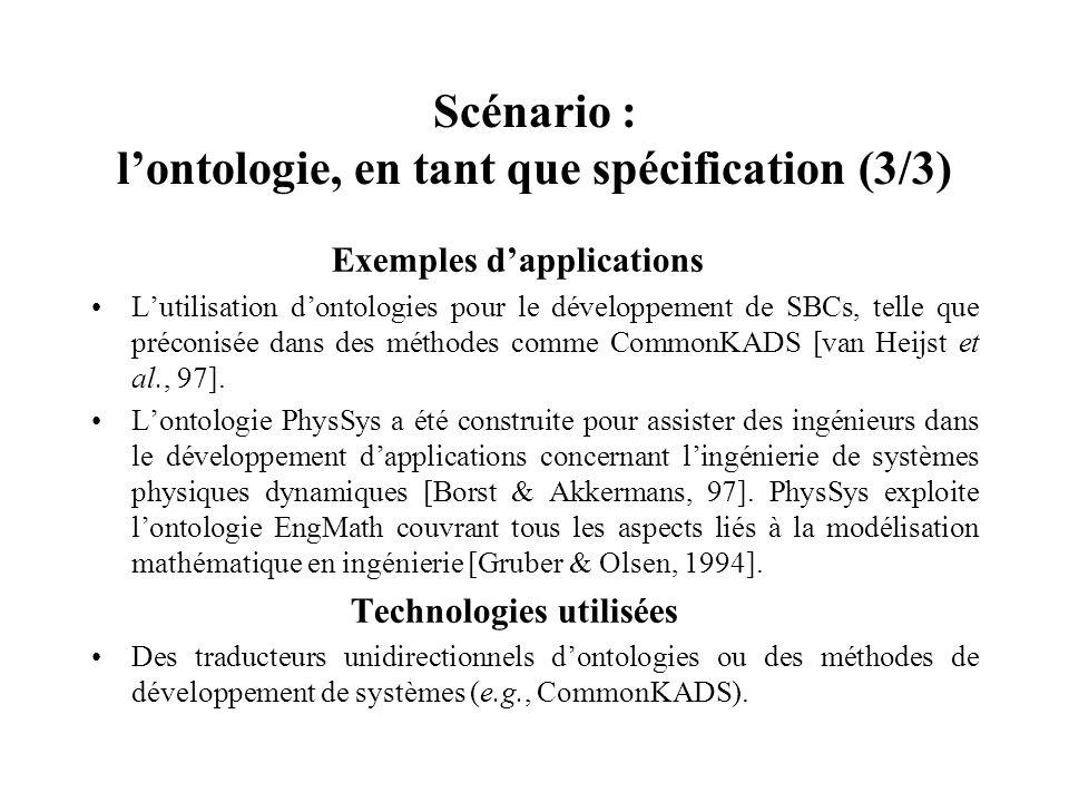 Scénario : l'ontologie, en tant que spécification (3/3)