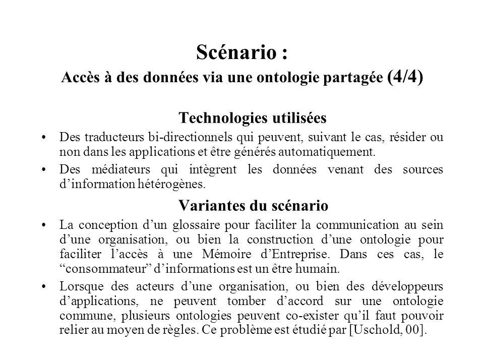 Scénario : Accès à des données via une ontologie partagée (4/4)