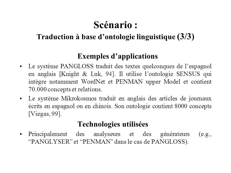 Scénario : Traduction à base d'ontologie linguistique (3/3)