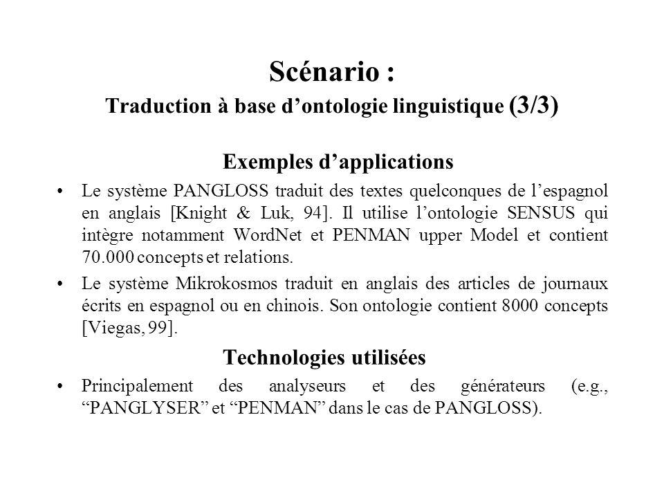 Scénario : Traduction à base d'ontologie linguistique (3/3)