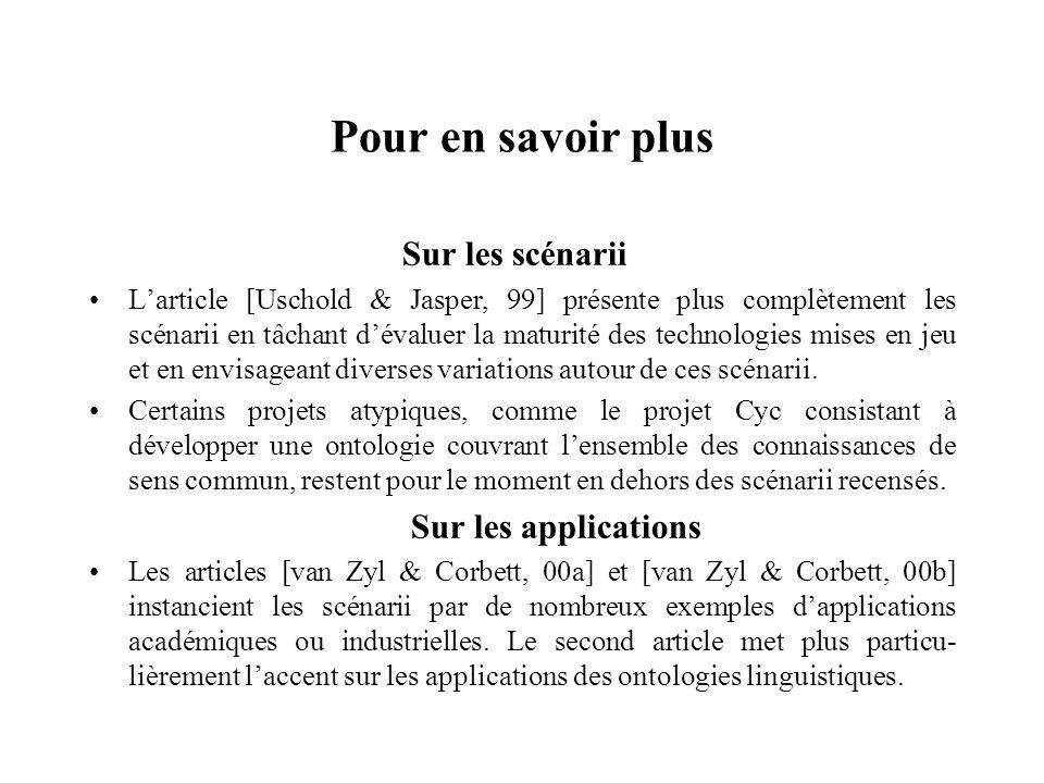 Pour en savoir plus Sur les scénarii Sur les applications