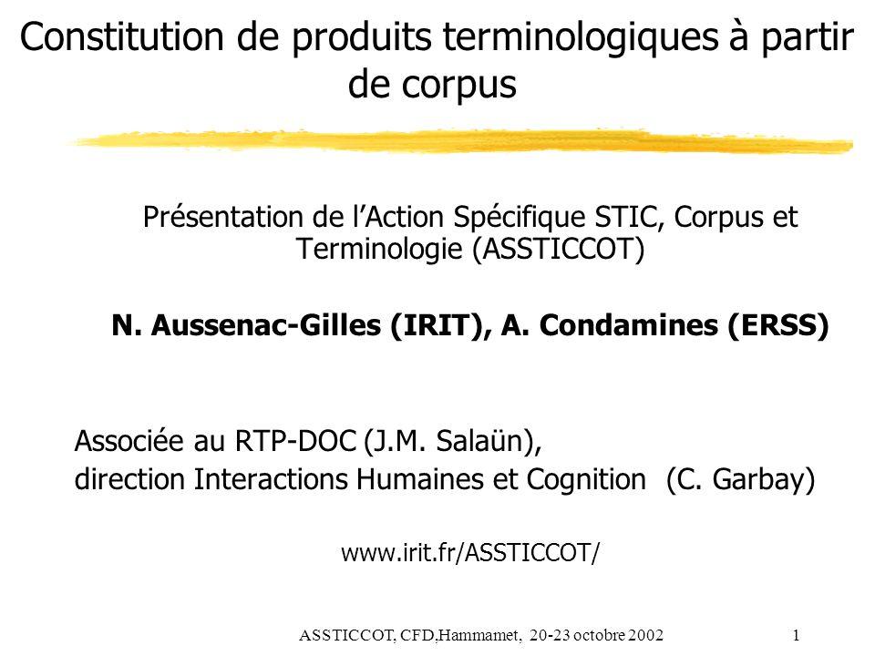 Constitution de produits terminologiques à partir de corpus
