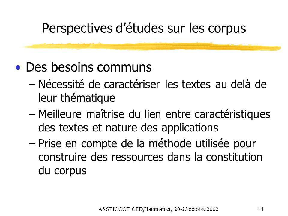 Perspectives d'études sur les corpus