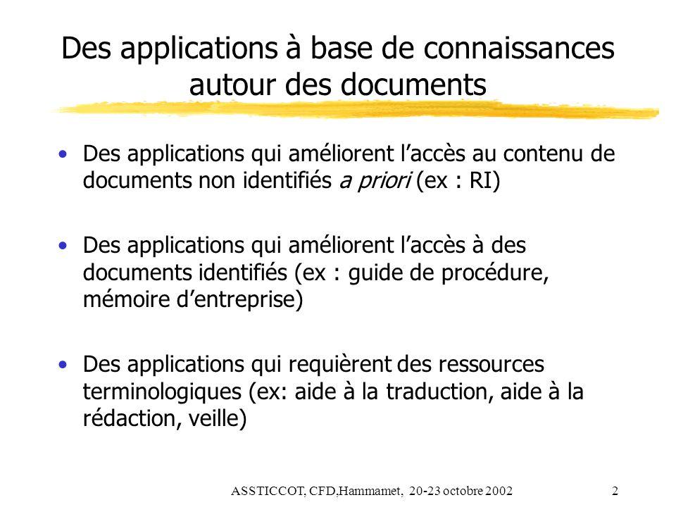 Des applications à base de connaissances autour des documents