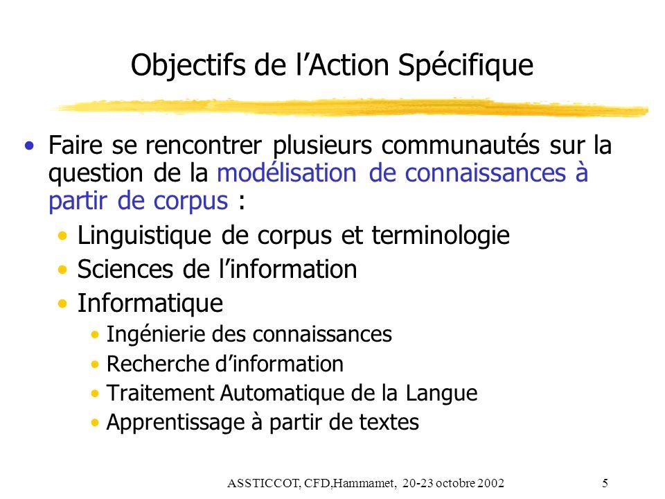 Objectifs de l'Action Spécifique