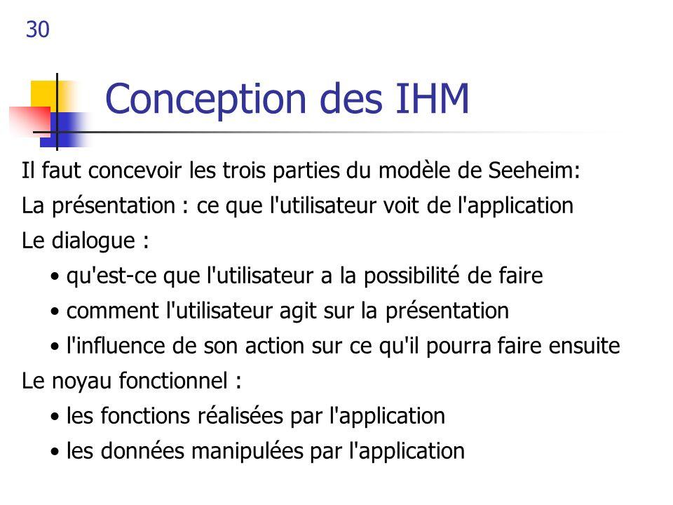 Conception des IHMIl faut concevoir les trois parties du modèle de Seeheim: La présentation : ce que l utilisateur voit de l application.