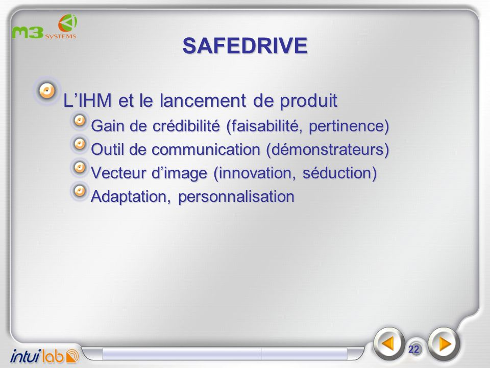 SAFEDRIVE L'IHM et le lancement de produit