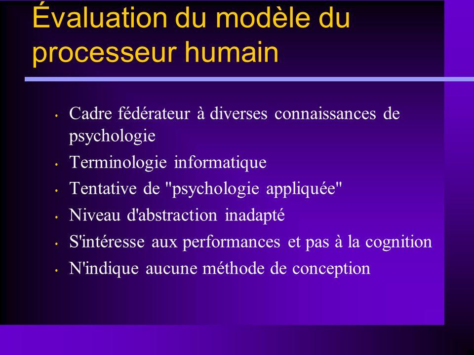 Évaluation du modèle du processeur humain