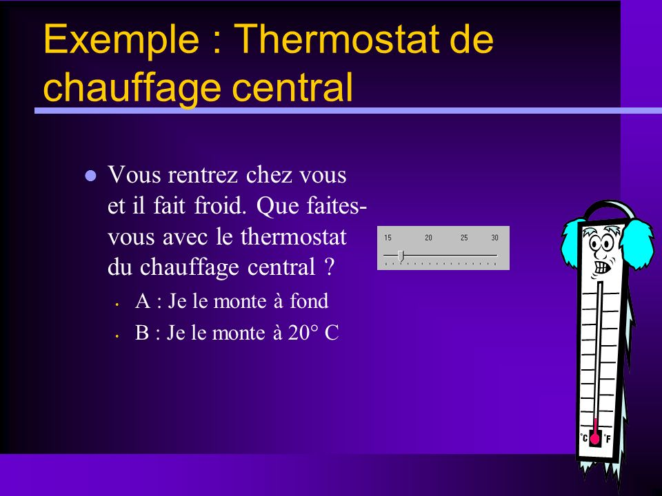 Exemple : Thermostat de chauffage central