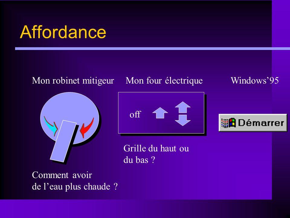Affordance Mon robinet mitigeur Mon four électrique Windows'95 off