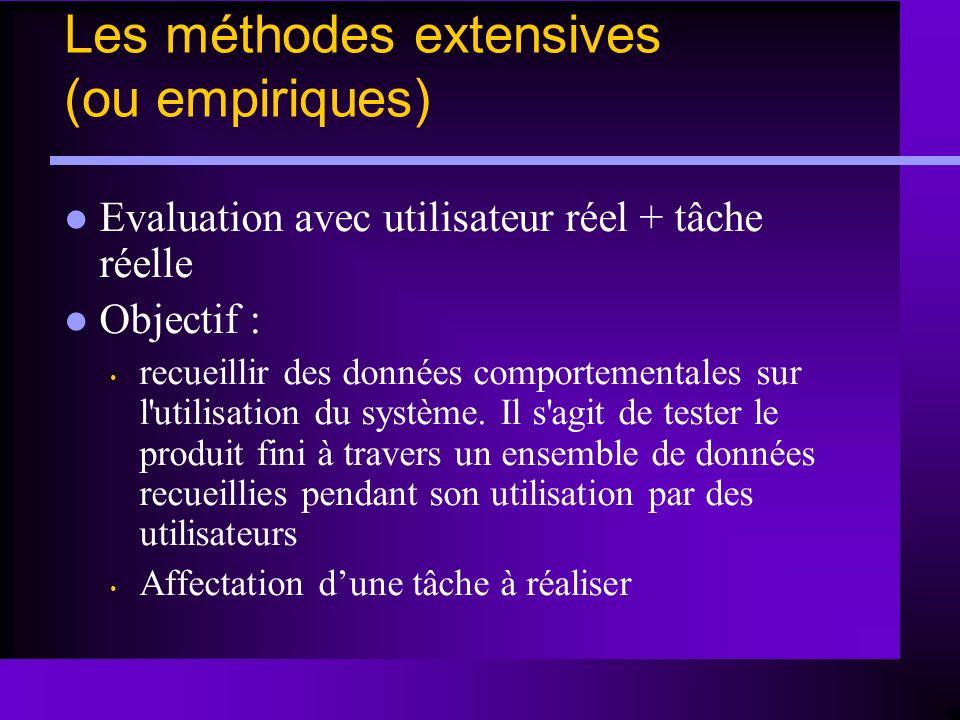 Les méthodes extensives (ou empiriques)