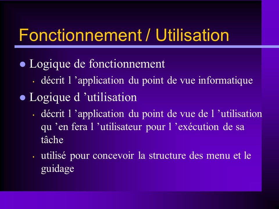 Fonctionnement / Utilisation