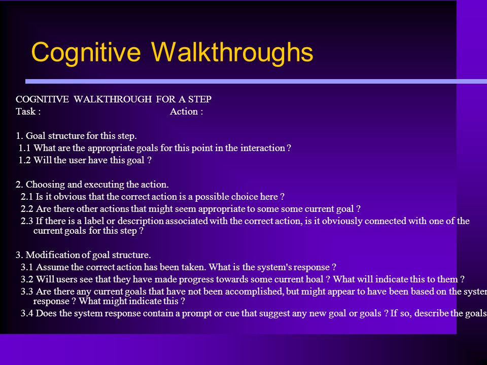Cognitive Walkthroughs