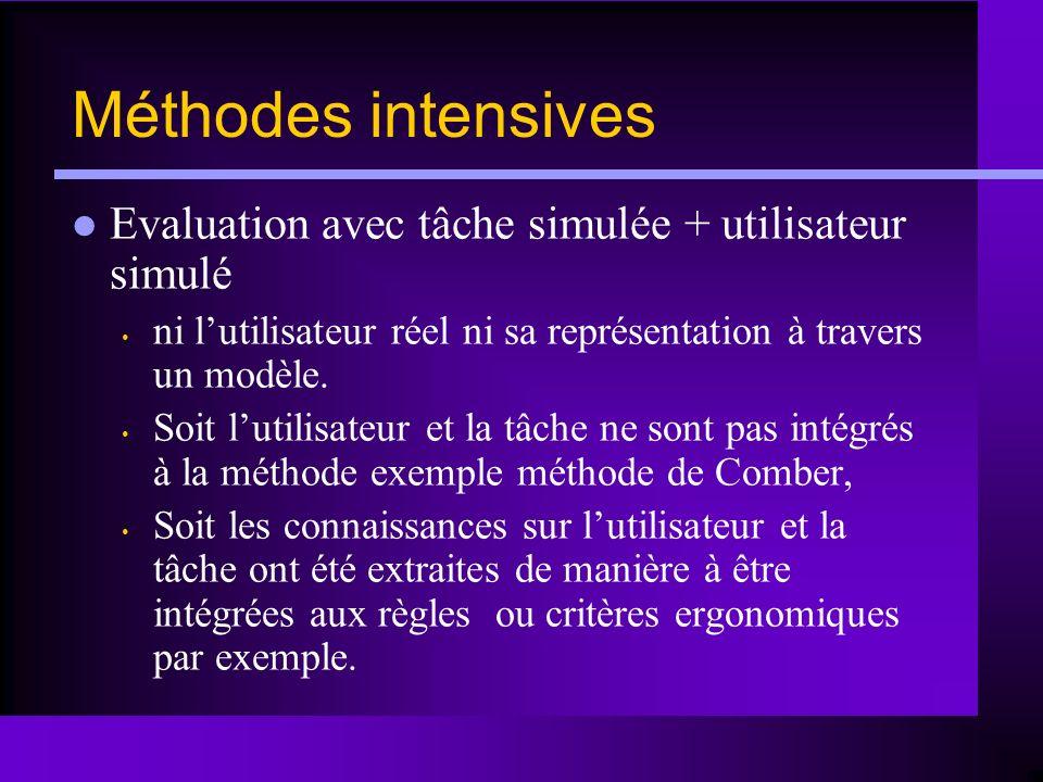 Méthodes intensives Evaluation avec tâche simulée + utilisateur simulé