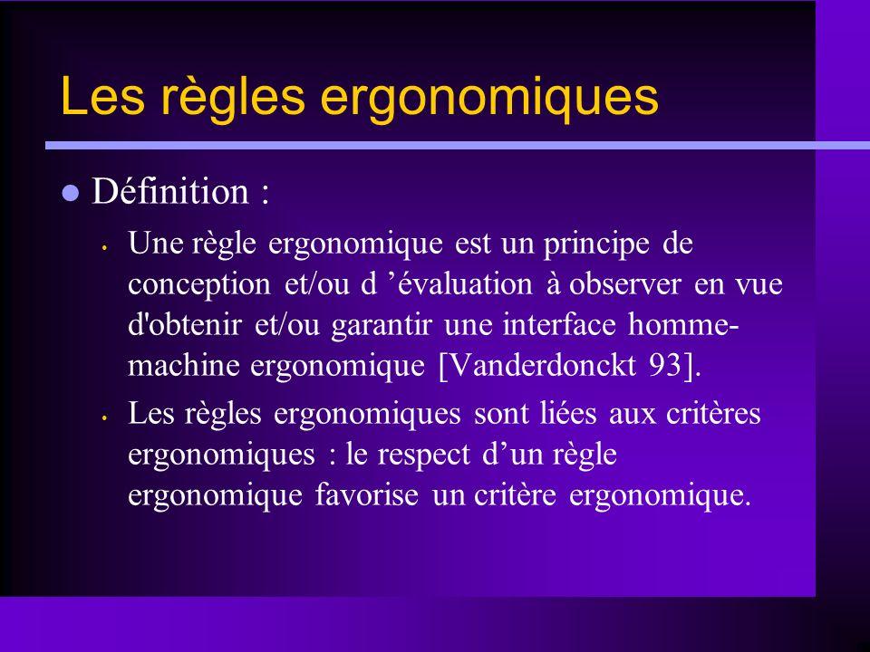 Les règles ergonomiques
