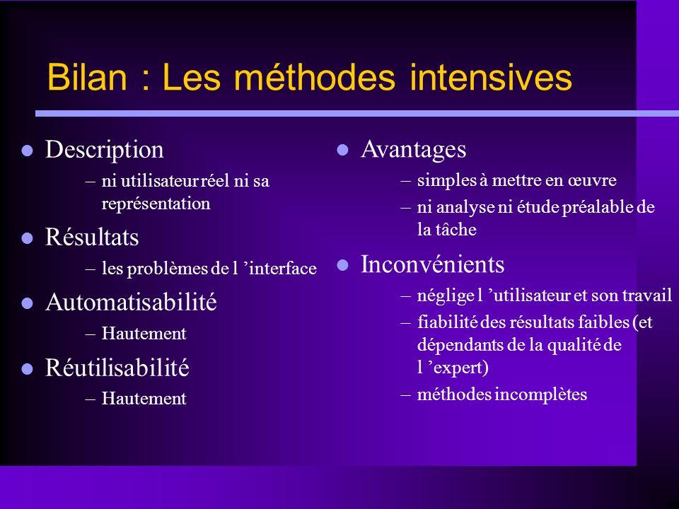 Bilan : Les méthodes intensives