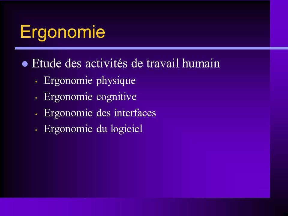 Ergonomie Etude des activités de travail humain Ergonomie physique