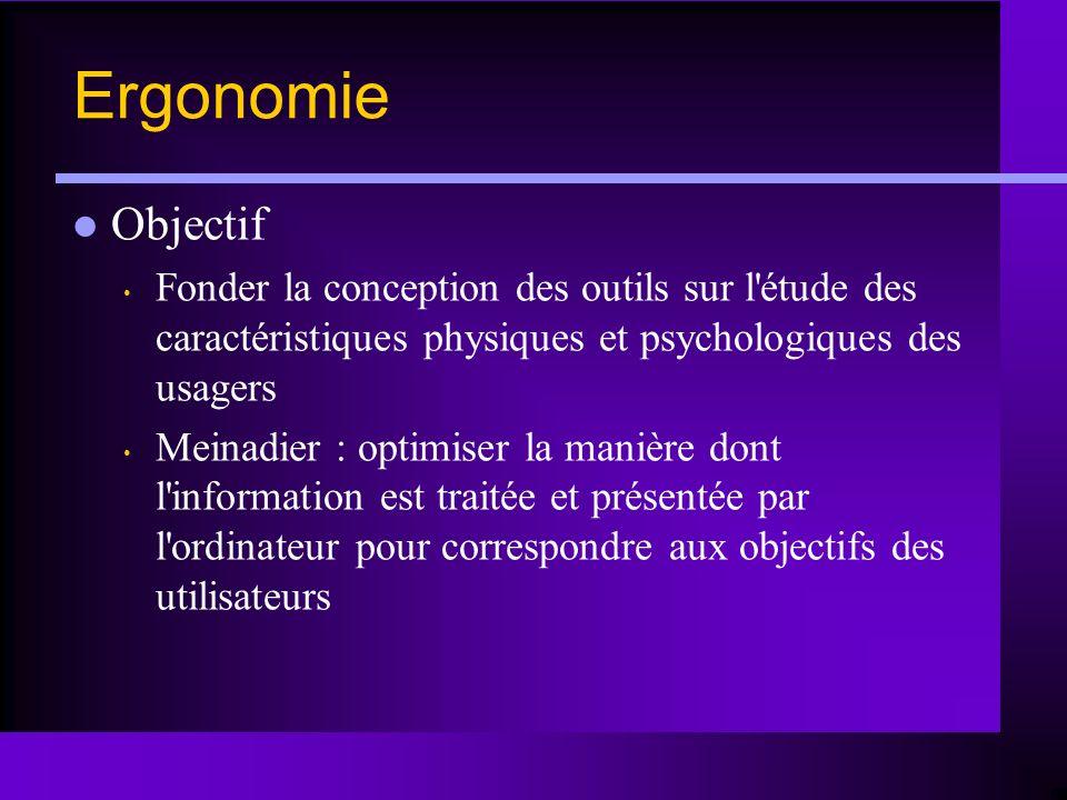 Ergonomie Objectif. Fonder la conception des outils sur l étude des caractéristiques physiques et psychologiques des usagers.