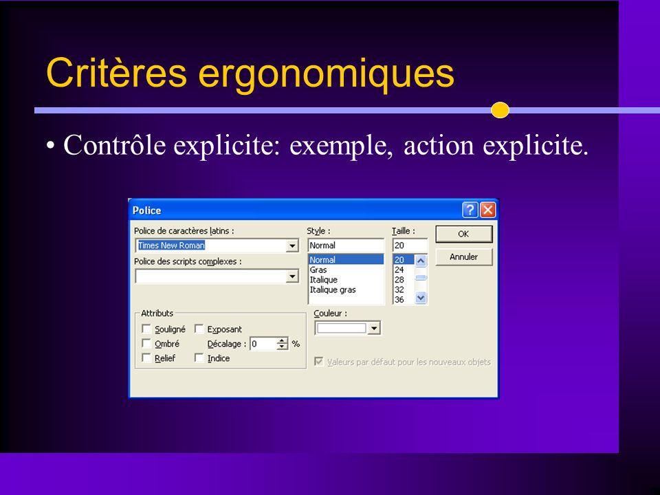 Critères ergonomiques