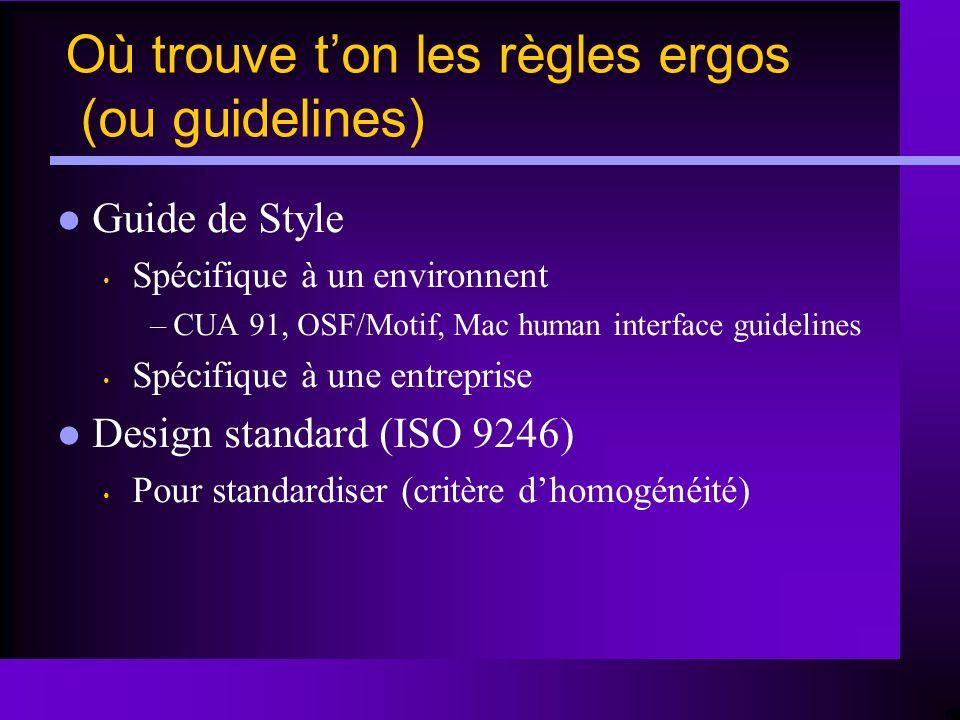 Où trouve t'on les règles ergos (ou guidelines)