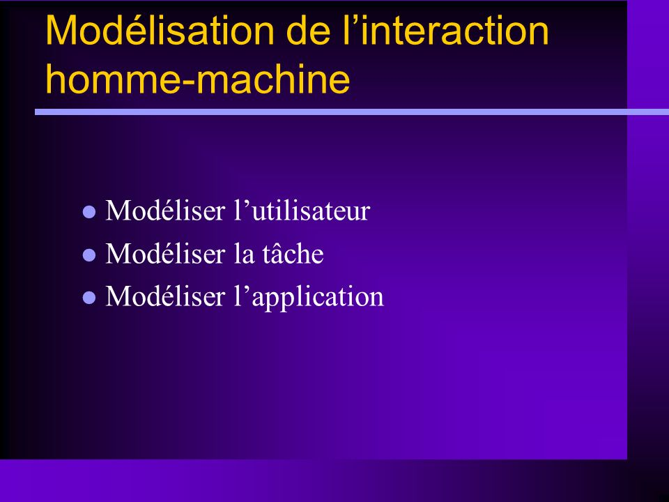 Modélisation de l'interaction homme-machine