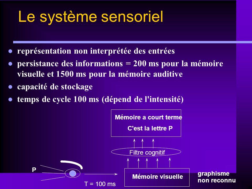 Le système sensoriel représentation non interprétée des entrées