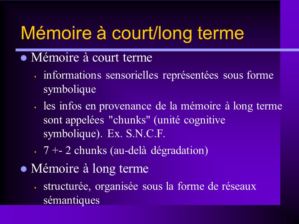 Mémoire à court/long terme