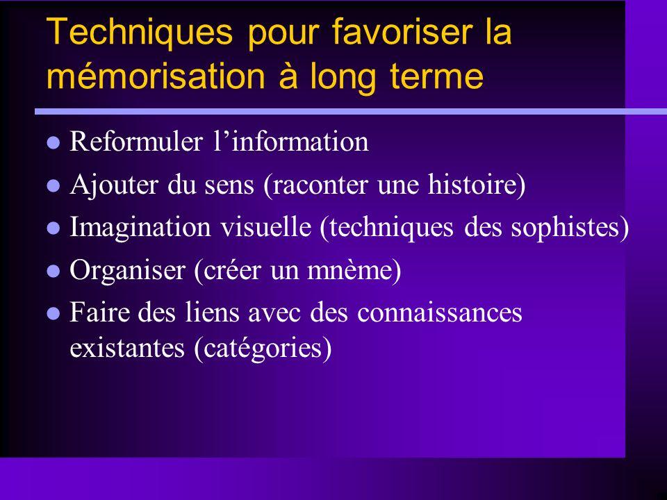 Techniques pour favoriser la mémorisation à long terme