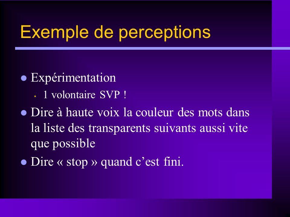 Exemple de perceptions
