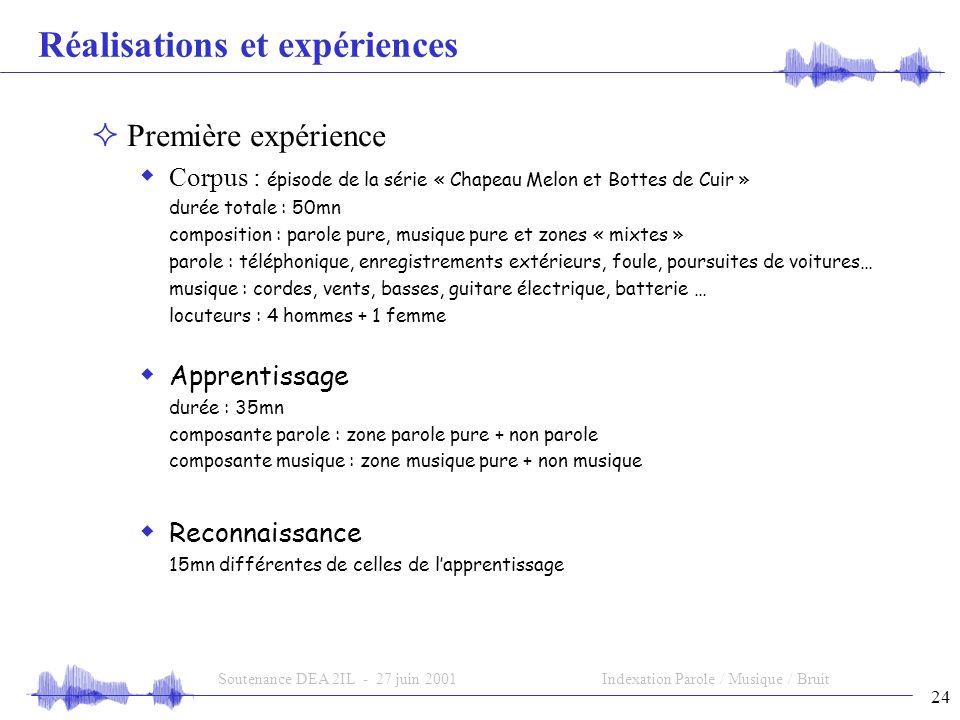 Réalisations et expériences