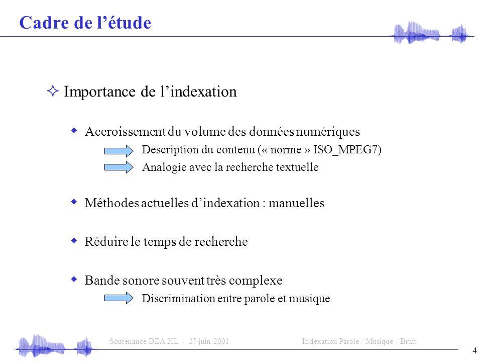 Soutenance DEA 2IL - 27 juin 2001 Indexation Parole / Musique / Bruit