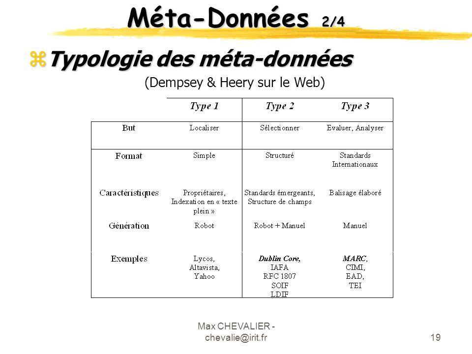 Méta-Données 2/4 Typologie des méta-données