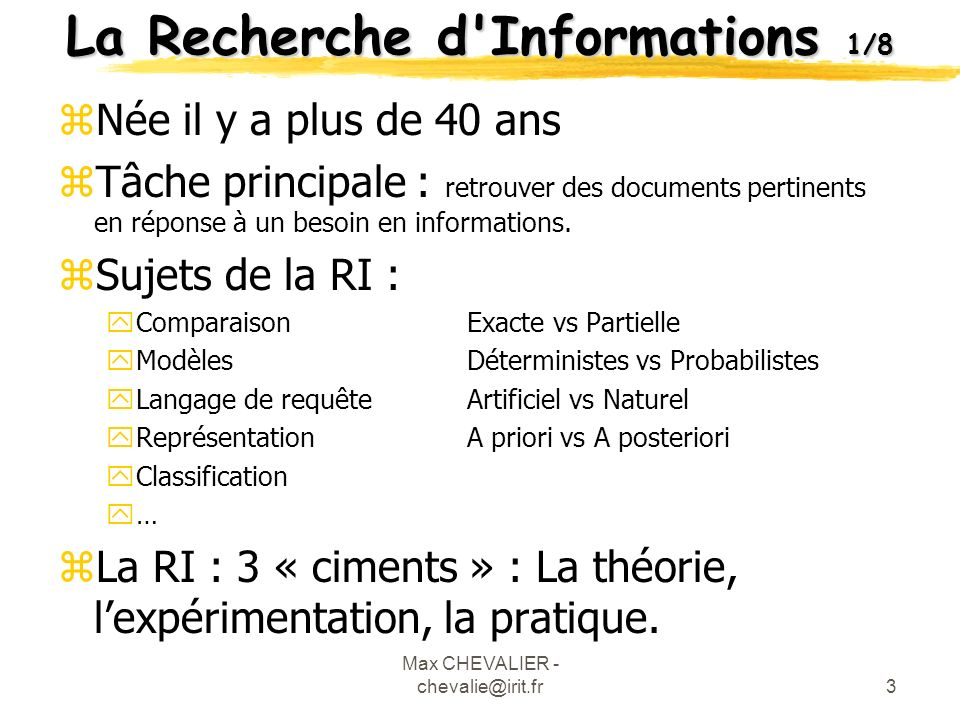 La Recherche d Informations 1/8