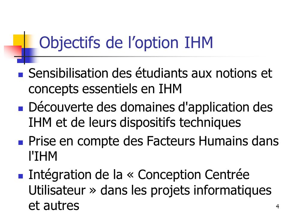 Objectifs de l'option IHM