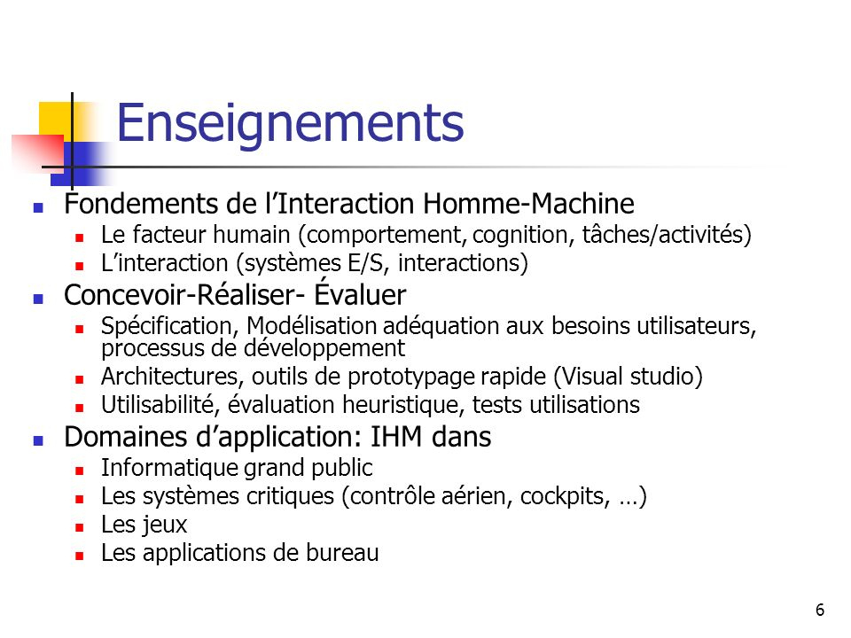 Enseignements Fondements de l'Interaction Homme-Machine