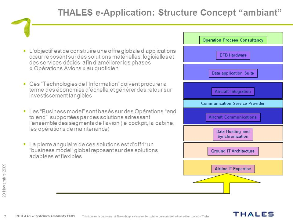 THALES e-Application: Structure Concept ambiant