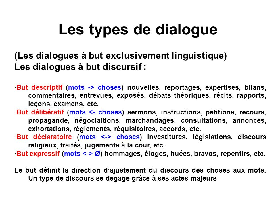 Les types de dialogue (Les dialogues à but exclusivement linguistique)