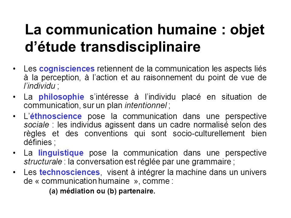 La communication humaine : objet d'étude transdisciplinaire