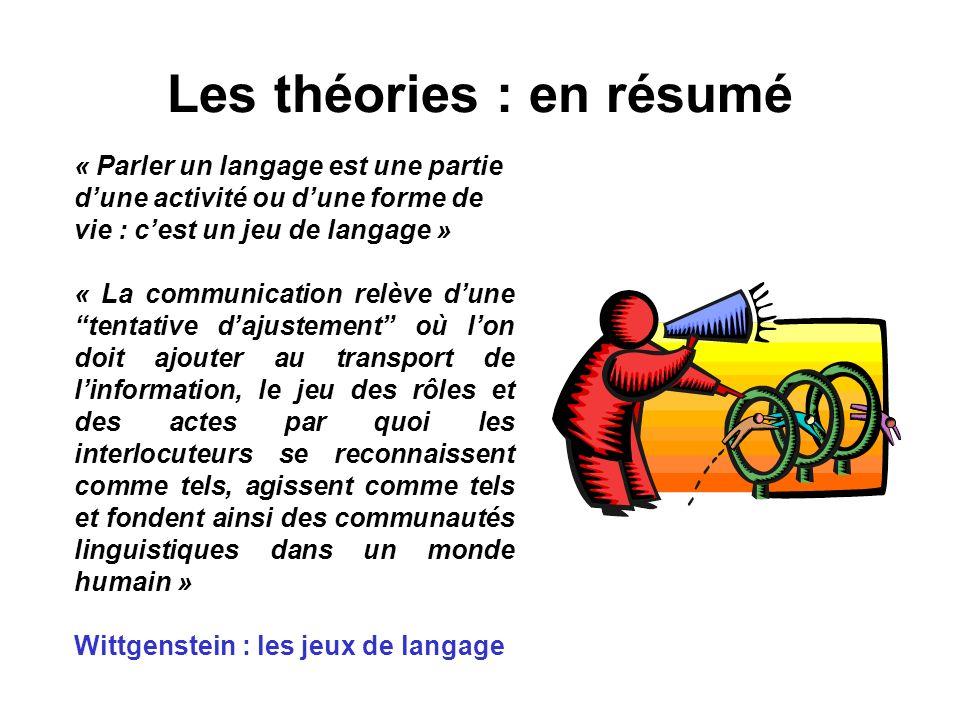 Les théories : en résumé