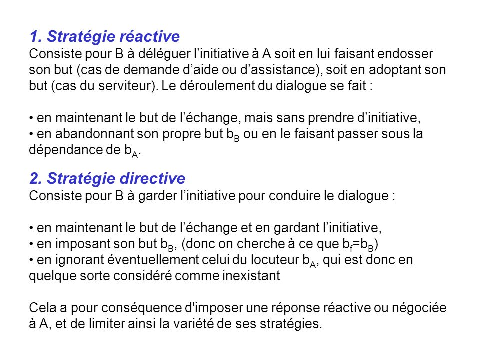 1. Stratégie réactive 2. Stratégie directive