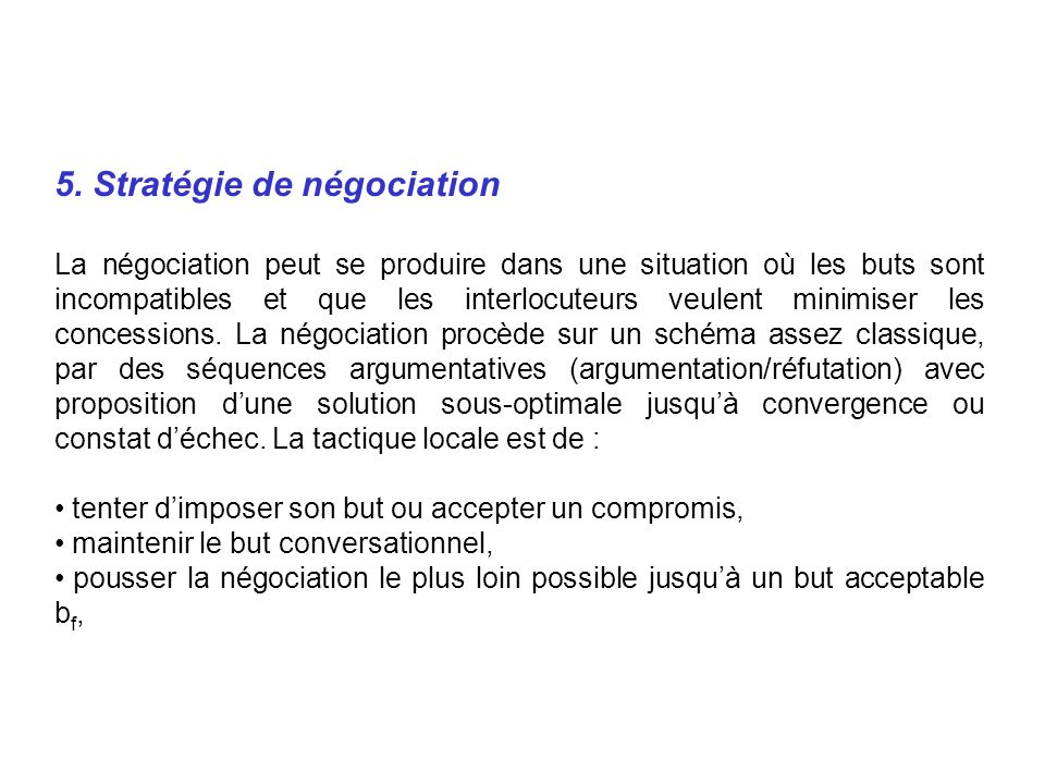 5. Stratégie de négociation